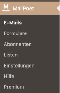 Menü-Einstellungen für E-Mails in MailPoet im WordPress-Dashboard