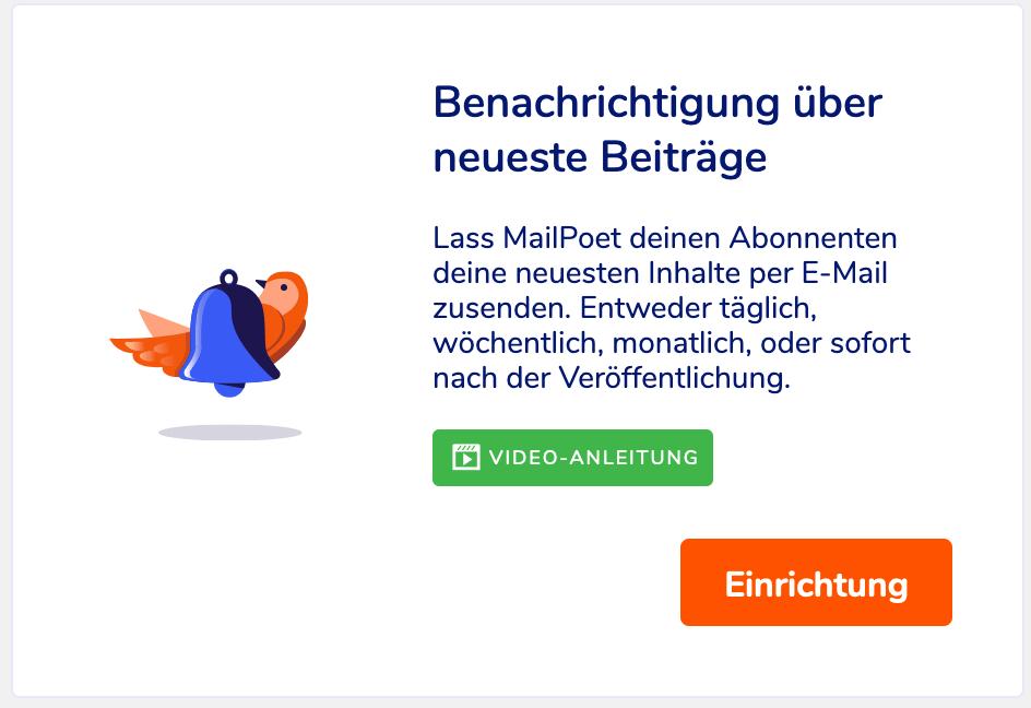 """Block für die """"Benachrictigung über neueste Beiträge"""" in MailPoet"""