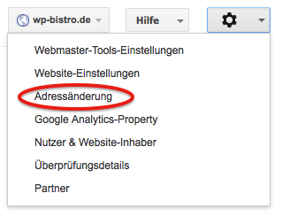 Adressänderung Google Webmastertools