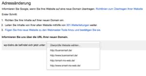 Adressänderung Domain