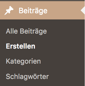 Screenshot - Beitragsmenü im WordPress-Dashborad