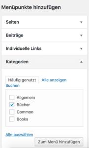 Screenshot - Menüpunkte hinzufügen