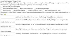 Individuelle Anzeige von Widgetbereichen in Weaver II