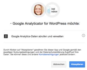 Google Analyticator Zugriff auf Google Analytics erlauben