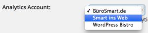Google Analytics Account auswählen