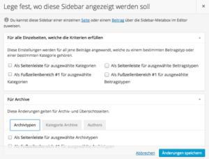 Anzeigeoptionen für Custom Sidebars