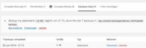 BackUp auf Festplatte herunterladen