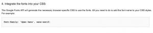 CSS Code für Google Webfont