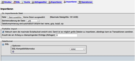 PHP MyAdmin - Datenbank importieren