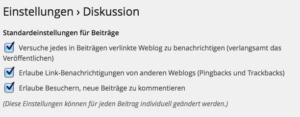 WordPress Einstellungen Diskussion