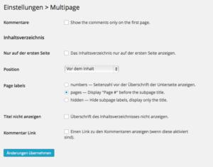 Einstellungsmöglichkeiten des MultiPage Plugins