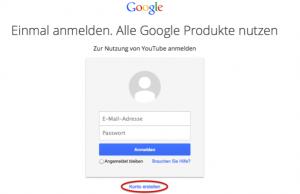 Anmeldeformular für Google