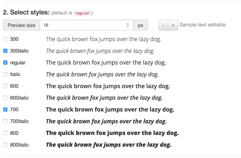 Screenshot der Styles-Auswahl im Google Webfonts Helper