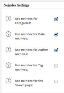 Noindex Settings bei All in One SEO Pack