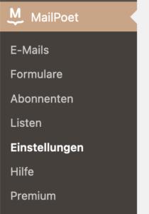 Anzeige der MailPoet-Einstellungen im WordPress-Dashboard.