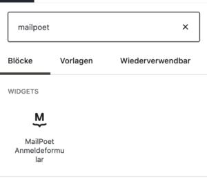 Ansicht des Gutenberg-Blocks für MailPoet in der Block-Suche von WordPress