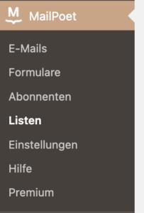 Anzeige des Menüs zu MailPoet - Listen im WordPress-Dashboard