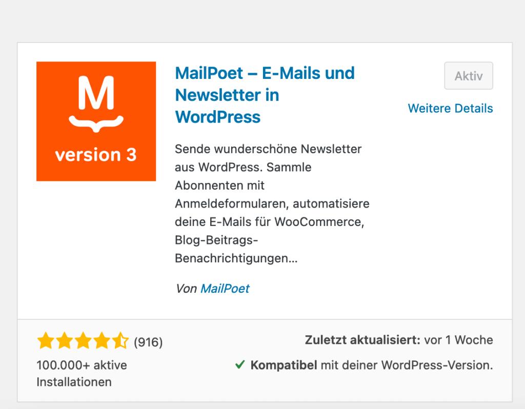 Ansicht des MailPoet-Plugins im WordPress Repository