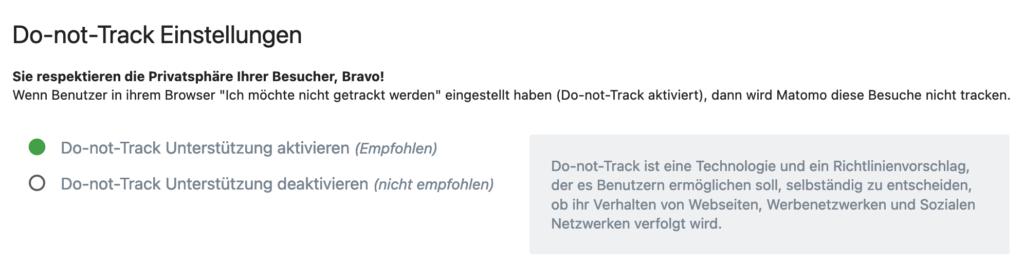 Matomo-Einstellunen: Do-not-track respektieren