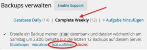 Die Einstellungen des WordPress Plugins BackUpWordPress