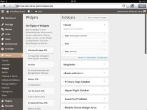 Optimierte Ansicht für Widgets auf dem iPad