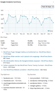 Statistiken aus Google Analytics
