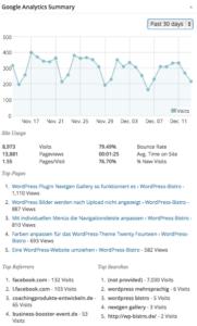 Statistiken aus Google Analytics
