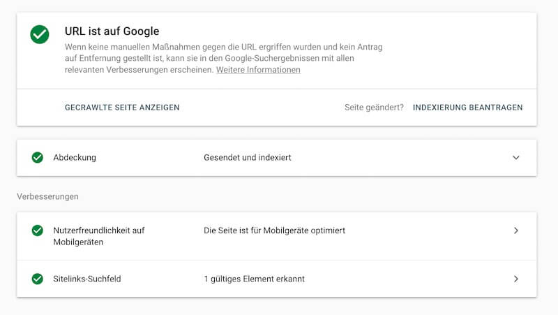 URL-Prüfung in der Search Console