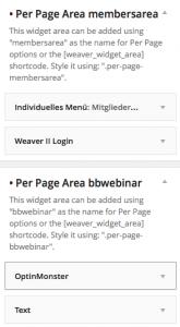 Beispiel für Per Page Widget Areas in Weaver II