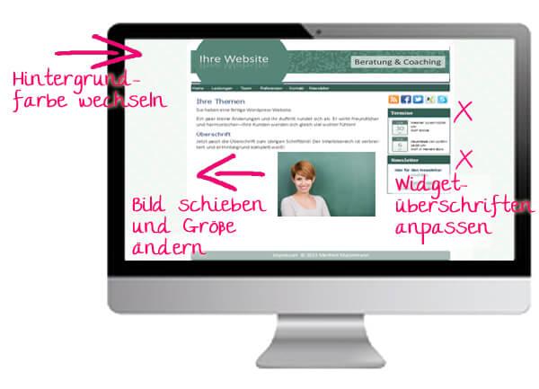 Ansicht auf Mac-Monitor mit diversen Hinweisen zur Website-Anpassung