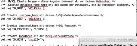 Parameter in der wp-config.php anpassen
