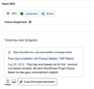 Screenshot Yoast SEO - Snippet-Vorschau